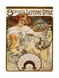 Biscuits Lefevre-Utile', Designed as a Calendar for 1897, 1896 (Lithograph in Colours) Giclee Print by Alphonse Mucha