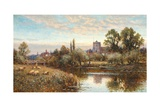 Sheep Grazing before Wrotham Church, Twilight Giclee Print by Alfred Augustus Glendening