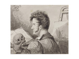 Self-Portrait as a Young Man with Skull, (Pencil, Ink and W/C on Paper) Giclee Print by Alexander Orlowski