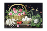 Eggs, Broad Beans and Roses in Basket, 1995 Giclee Print by Amelia Kleiser
