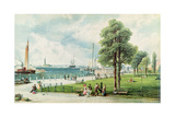 Castle Garden (View of Battery Park from South Ferry to Castle Garden) C.1886 (Embossed Litho) Giclee Print by Andrew Melrose