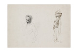 Studies of Two Young Boys with Faint Indications of a Female Figure, 1852 Reproduction procédé giclée par Camille Pissarro