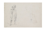 Whole-Length Study of a Small Boy with Faint Studies of His Face and His Left Leg Seen from the Bac Reproduction procédé giclée par Camille Pissarro
