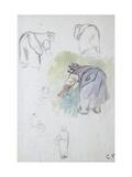 Sheet of Studies: Four Studies of a Female Peasant Bending Reproduction procédé giclée par Camille Pissarro