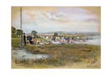 The Albert - Second Stage, 1000 Yards, Bisley Camp, 1893 (W/C and Gouache on Paper) Giclee Print by Cecil Cutler
