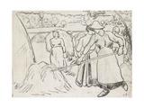 Compositional Study of Harvesters in a Landscape Reproduction procédé giclée par Camille Pissarro