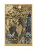 Market Scene (Black Crayon with Pen and Black Ink Reproduction procédé giclée par Camille Pissarro