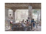Inn in Rome, Engraved by Francois Alexandre Villain (1798-1884) C.1820-30 Giclee Print by Antoine Jean-Baptiste Thomas