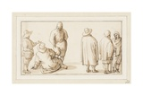 A Group of Three Figures Conversing and Two Merchants Talking to an Oriental (Pen and Ink with Wash Giclee Print by Anthonie Palamedesz