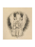 Three Little Children on the Wide Wide Earth (Pen and Black Ink on Off-White Paper) Giclee Print by Arthur Hughes