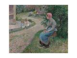A Servant Seated in the Garden at Eragny; La Servante Assise Dans Le Jardin D'Eragny, 1884 Reproduction procédé giclée par Camille Pissarro