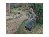 A Servant Seated in the Garden at Eragny; La Servante Assise Dans Le Jardin D'Eragny, 1884 Giclee Print by Camille Pissarro