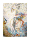 Untitled (Two Female Nudes under a Tree, with a Peacock), (W/C on Cream Wove Paper) Giclee Print by Armand Point