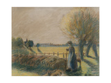 The Shepherdess of Eragny (Tempera and Pastel with Traces of Watercolour and Pencil on Grey Paper) Reproduction procédé giclée par Camille Pissarro