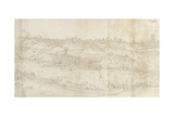Panoramic View of Segovia from the East (Pen and Brown Ink with Touches of Blue Wash over Black Cha Giclee Print by Anthonis van den Wyngaerde
