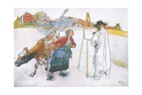 Along Came Joanna Leading Blomma the Cow Giclee Print by Carl Larsson