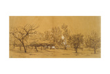 View of an Orchard at Saint-Denis (Pen and Black Ink Giclee Print by Charles Francois Daubigny