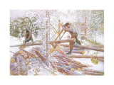 They Were Then Cut into Uniform Lengths Giclee Print by Carl Larsson