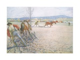 The Two Men with their Harrows Worked Methodically to and Fro Giclee Print by Carl Larsson