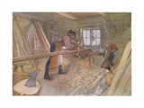 Uncle Johan in the Farm Workshop Giclee Print by Carl Larsson