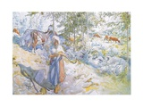 Last of All Came Little Kertsi with a Willow Twig to Drive the Cows Giclee Print by Carl Larsson