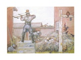 The Cock Went on Crowing All the Time Elfstrom Sawed and Hammered Giclee Print by Carl Larsson