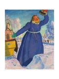 The Coachman, 1923 Giclee Print by Boris Mihajlovic Kustodiev