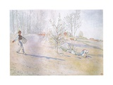 Johan Carried the Oats in a Big Open Bag Fastened by Straps Giclee Print by Carl Larsson