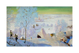 Skiers, 1919 Giclee Print by Boris Mikhailovich Kustodiev