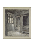 Interior of a Bedroom with a Sanctuary on the Left (Graphite with Pen and Brown Ink on White Paper Giclee Print by Charles Francois Daubigny