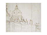 Venice: the Dogana Di Mare and S. Maria Della Salute (Pen and Brown Ink over Black Chalk) Giclee Print by  Canaletto