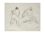 Studies of a Male and a Female Harvester Reproduction procédé giclée par Camille Pissarro