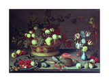 A Basket of Grapes and Other Fruit Giclee Print by Balthasar van der Ast