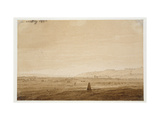 Landscape with an Obelisk, 1803 (Point of the Brush in Brown Ink and Sepia on Off-White Paper) Giclee Print by Caspar David Friedrich