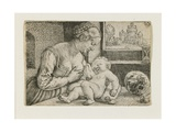 Mother and Child with Skull and Hourglass, C. 1528-1530 Giclee Print by Barthel Beham