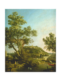 English Landscape Capriccio with a Palace, 1754 Giclee Print by  Canaletto