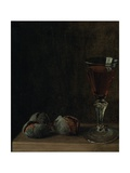 A Glass of Wine with Walnuts on a Table Giclee Print by Balthasar Denner