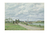 The Banks of the Oise Near Pontoise, 1873 Stampa giclée di Camille Pissarro