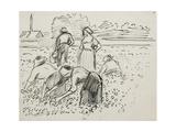 Study of Five Peasant Figures Working in a Field, 1887 Reproduction procédé giclée par Camille Pissarro