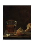 A Glass of Beer and a Bread Roll on a Table Giclee Print by Balthasar Denner