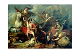Alexander III of Scotland Rescued from the Fury of a Stag by the Intrepidity of Colin Fitzgerald Giclee Print by Benjamin West