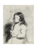 Portrait of Ludovic-Rodo Pissarro (1878-1952), C. 1883 - 1884 (Black Chalk) Reproduction procédé giclée par Camille Pissarro