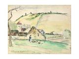 The Farm at Chatillon-Sur-Seine, 1882 (W/C, Wash and Charcoal on Paper) Reproduction procédé giclée par Camille Pissarro