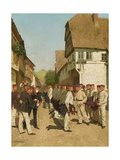 Roll-Call During on Maneuvers, before 1894 Giclee Print by Carl Rochling