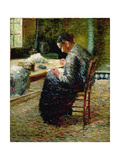 Portrait of the Artist's Mother Sewing, 1885 Giclee Print by Charles Angrand