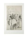 Compositional Study of the Market at Pontoise, 1881 (Black Chalk and Grey Washes) Reproduction procédé giclée par Camille Pissarro