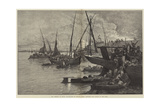 The Cholera in Egypt, Inhabitants of Boulak, Cairo, Crowding into Barges on the Nile Giclee Print by Charles Auguste Loye