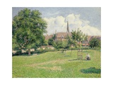 The House of the Deaf Woman and the Belfry at Eragny, 1886 Giclee Print by Camille Pissarro