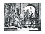 Christopher Columbus (1451-1506) Presenting an Account of His Discovery of America to the King and  Giclee Print by Charles Grignion