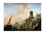 View of a Mediterranean Port Giclee Print by Charles Francois Lacroix de Marseille